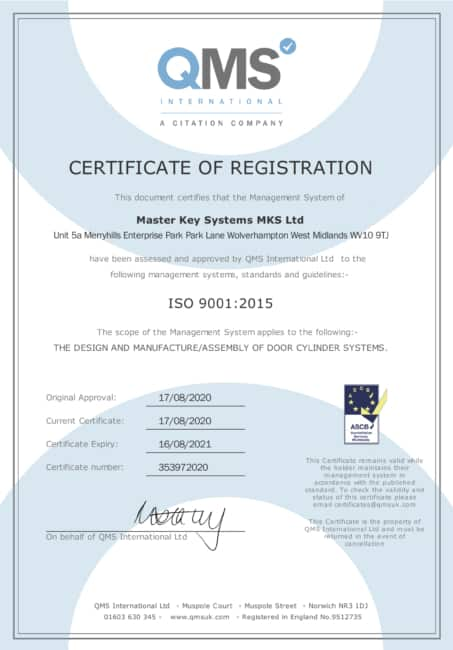 Master Key Systems Certificate of Registration